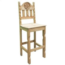 Rope Star Barstool W/wood Seat