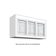 "Aspen Top Bridge Unit, 3-Glass Doors with Open Center Mullions, 1-Adjustable Shelf, Antique Glass, 48"" to 54"", Specify Width"