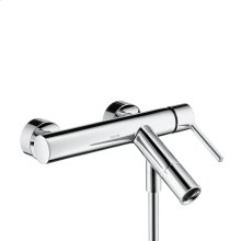 Chrome Single lever bath mixer for exposed installation with flat lever handle