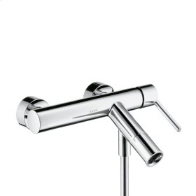 Polished Chrome Single lever bath mixer for exposed installation with flat lever handle