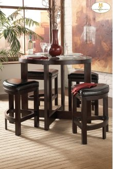 5-Piece Pack Counter Height Set Table : 40 Dia x 36H Stool : 18 x 18 x 24H