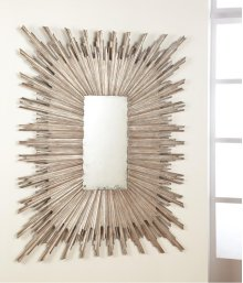 Italian Looking Glass-silver, Antiqued Mirror. Hand Applied Silver Leaf Finish. Carved Wood.