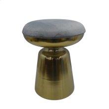 "Metal 18"" Cylinder Gold Stool,grey Cushion"