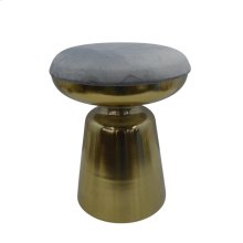 "Metal 18"" Cylinder Gold Stool,grey Cushion"