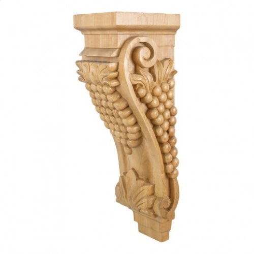 """6-3/4"""" x 7-5/8"""" x 22"""" Grape Wood Corbel with additional center curvature. e Hardware Resources, Inc., Species: Rubberwood"""