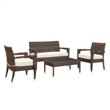 Stride 4 Piece Outdoor Patio Sofa Set in Brown White