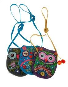 BTQ Embroidered Owl Purse - Ast 3