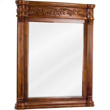 """33-11/16"""" x 42"""" Golden Pecan mirror with hand-carved details and beveled glass"""