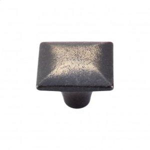 Square Iron Knob Smooth 1 3/8 Inch - Dark Antique Brass