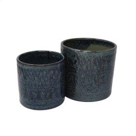 """S/2 Ceramic 6""""/5"""" Planters, Blue"""
