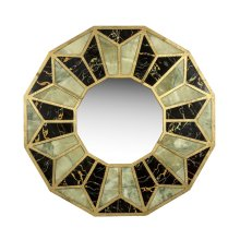Wood/marble Mirror, Gold/green/black, Wb