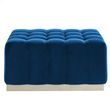 Magnum Rectangular Cocktail Ottoman in Blue & Silver