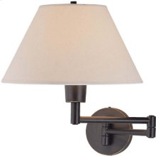 Swing-arm Wall Lamp, D/brz W/off/white Shade, 100w/a Type