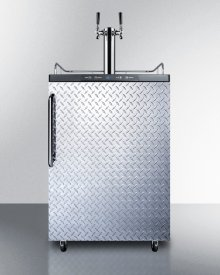 Freestanding Residential Dual Tap Beer Dispenser, Auto Defrost W/digital Thermostat, Diamond Plate Wrapped Door Finish, and Towel Bar Handle