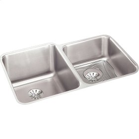 """Elkay Lustertone Classic Stainless Steel, 31-1/4"""" x 20-1/2"""" x 9-7/8"""", Double Bowl Undermount Sink Kit w/Perfect Drain"""