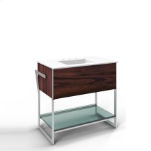 """36-1/4"""" X 34-3/4"""" X 21"""" Vanity In Santos Rosewood With Push-to-open Plumbing Drawer, Towel Bar On Left Side, Legs In Brushed Aluminum and 37"""" Stone Vanity Top In Quartz White With Integrated Center Mount Sink and 8"""" Widespread Faucet Holes"""