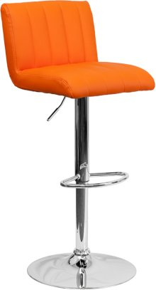 Contemporary Orange Vinyl Adjustable Height Barstool with Vertical Stitch Back\/Seat and Chrome Base