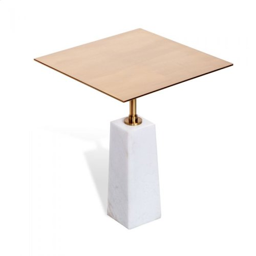 Beck Square Side Table - White/ Antique