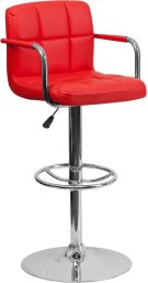 Contemporary Red Quilted Vinyl Adjustable Height Barstool with Arms and Chrome Base Product Image