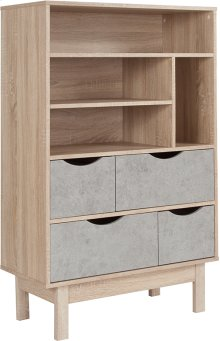 St. Regis Collection Bookshelf and Storage Cabinet in Oak Wood Grain Finish with Gray Drawers
