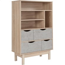 """St. Regis Collection Contemporary 4 Shelf 49""""H Bookcase and Storage Cabinet in Oak Wood Grain Finish with Gray Drawers"""
