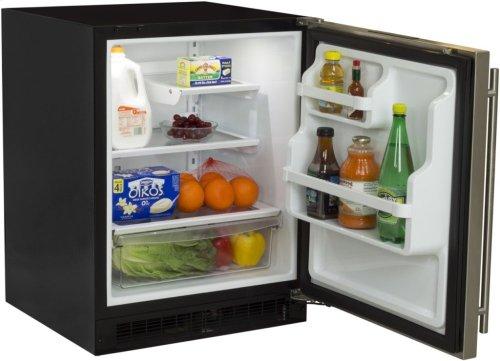 """Marvel 24"""" All Refrigerator with Drawer - Black Door - Left Hinge"""