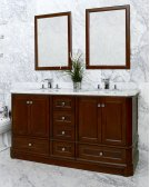 White RICHMOND 60-in Double-Basin Vanity Cabinet with Crema Marble Stone Top and Karo 18x12 Sink Product Image