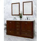 White RICHMOND 60-in Double-Basin Vanity Cabinet with Carrara Marble Stone Top and Muse 18x12 Sink Product Image