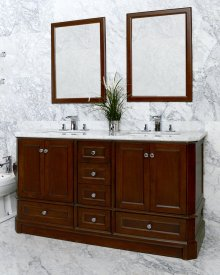 White RICHMOND 60-in Double-Basin Vanity Cabinet with Carrara Marble Stone Top and Karo 18x12 Sink