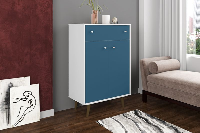 "Liberty 1-Drawer 28.07"" Storage Cabinet in White and Aqua Blue"