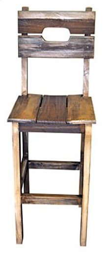 Wood Seat Slated Barstool