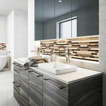 Ambre Rectangular Semi-recessed Vitreous China Bathroom Sink