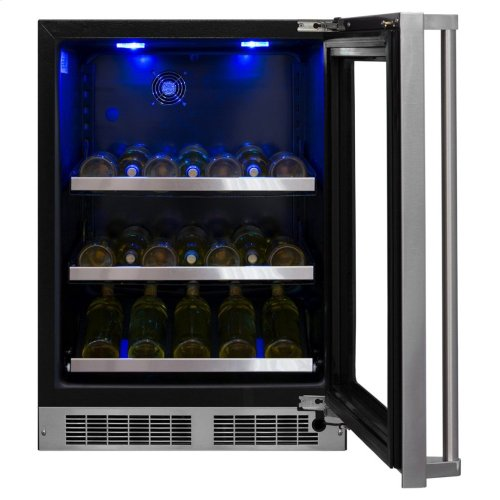 """Marvel 24"""" Beverage Center with Display Wine Rack - Panel-Ready Framed Glass Door with Lock - Integrated Right Hinge (handle not included)*"""