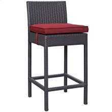 Convene Outdoor Patio Upholstered Fabric Bar Stool in Espresso Red