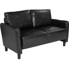 Candler Park Upholstered Loveseat in Black Leather