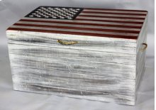 """#535 Old Sea Trunk w/ Flag 36""""wx24""""dx20""""h"""