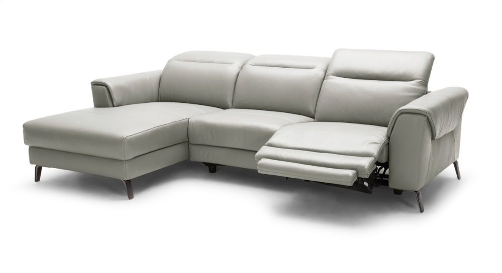 Divani Casa Mosley Modern Grey Leather Sectional Sofa W/ Recliner