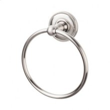 Edwardian Bath Ring Beaded Backplate - Brushed Satin Nickel