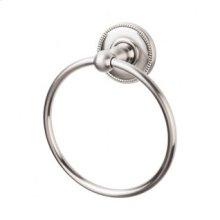 Edwardian Bath Ring Beaded Backplate - Brushed Satin Nickel
