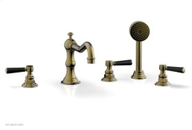 HENRI Deck Tub Set with Hand Shower with Marble Handles 161-50 - Antique Brass