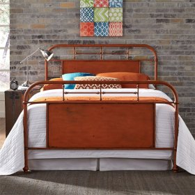 Queen Metal Bed - Orange