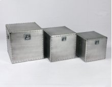 3pc Set Square Tables-gray Alum-su (3/ctn)