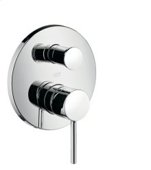 Chrome Single lever bath mixer for concealed installation with round lever handle and integrated security combination according to EN1717