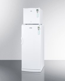 """Compact Fs20lmed All-freezer Stacked On Full-size Auto Defrost Ffar10med All-refrigerator, 24"""" Footprint With Temperature Alarms"""