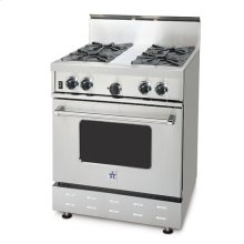 "30"" BlueStar - Residential Culinary Series (RCS). All gas range.. Features NOVA™, SUPERNOVA™, and Simmer Burners for up to 18,000 BTUs .. Accommodates a full size commercial 18"" x 26"" baking sheet.. 24"" depth for compatibility with standard kitchen cabinetry.. Oven door window.. 1850(DEGREE) infrared broiler.."