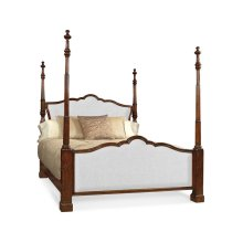 US King Four Poster Mahogany Bed, Upholstered in COM