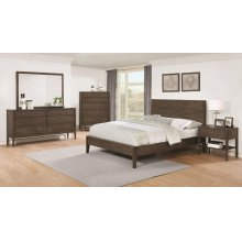 Lompoc Mid-century Modern Brown Walnut California King Four-piece Set