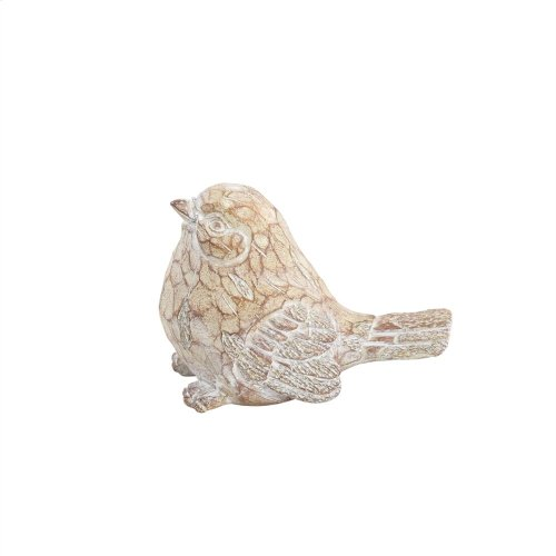 "Resin Bird Decor, 6"", Brown/ivory"