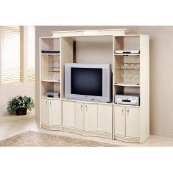 TV STAND - WASHED OAK HOME THEATER BRIDGE