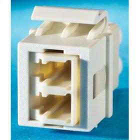 1-LC (2 fibers) fiber Keystone module, Fog White